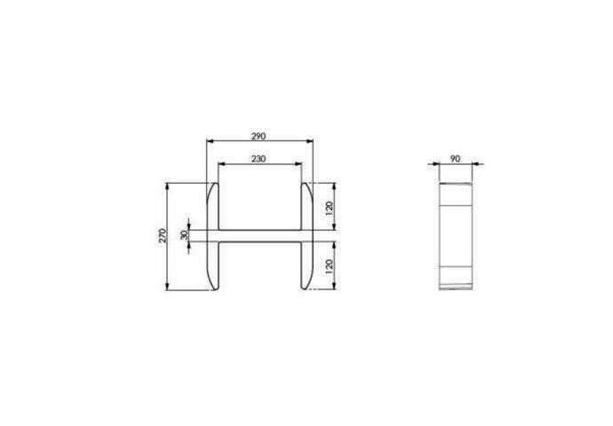 Planchet Damast Lettering-H 29x27 cm Zwart