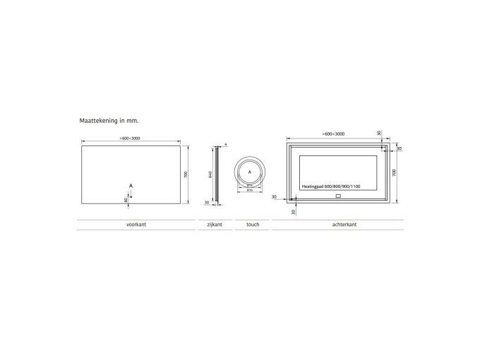 Badkamerspiegel Xenz Peschiera 60x70cm met Rondom Indirecte Verlichting