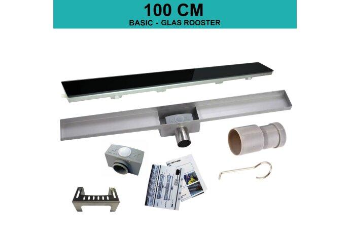 RVS Douchegoot BASIC met uitneembaar sifon 100x7cm 6,7cm diep GLAS ROOSTER BWTP/DR100PSGLAS