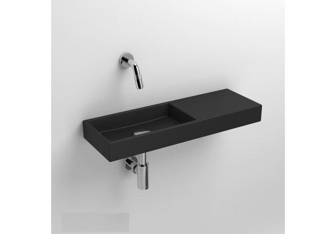 Fontein Clou Mini Wash Me Rechts 56x19x6cm Keramiek Mat Zwart (Zonder Kraangat)