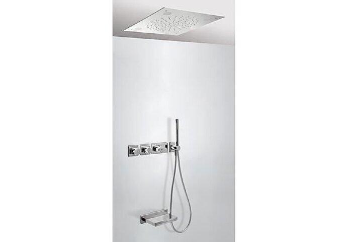 Tres Max inbouw badthermostaat combinatie met handdouche en waterval baduitloop chroom 20735307