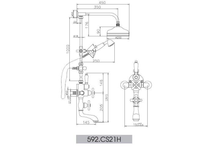 Huber Croisette Bad Douchecombinatie RVS 592CS21HNS