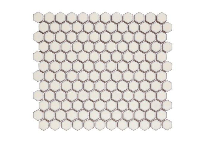 Mozaïektegel The Mosaic Factory Barcelona Hexagon 23x26 mm Porselein Zacht Wit