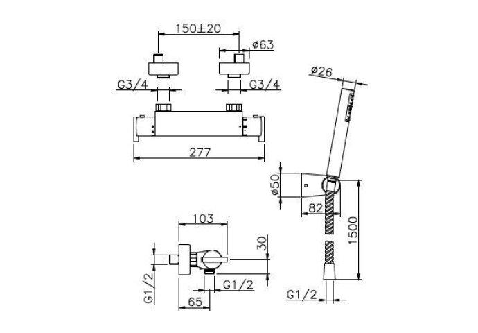 Huber Tratto Douchethermostaatkraan met douchegarnituur Chroom TT.D01010.21