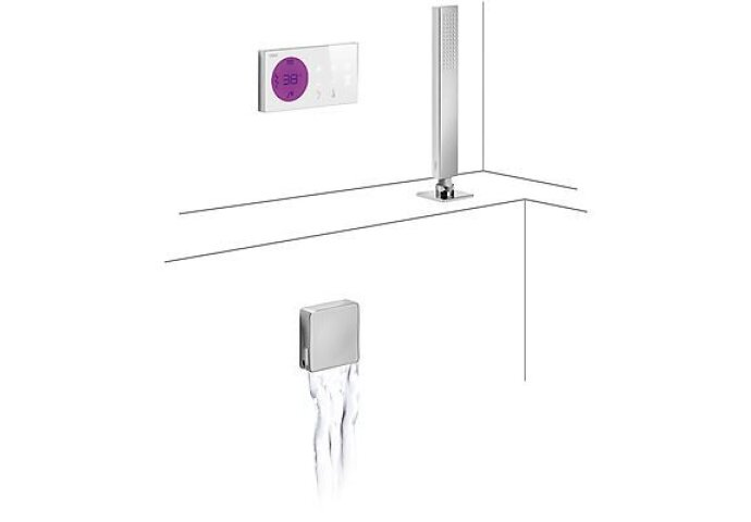 Tres electronische digitale bad inbouwthermostaat met handdouche en baduitloop chroom 09286571