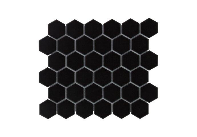 Mozaïek Barcelona 28.1x32.5 cm Geglazuurd Porselein Hexagon Mat Zwart (Prijs Per 0.91 m2)
