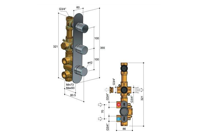 Douchethermostaat Hotbath Buddy Inbouw 2 Stopkranen Verticaal Chroom