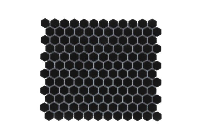 Mozaïek Barcelona 26x30 cm Geglazuurd Porselein Hexagon Mat Zwart (Prijs Per 0.78 m2)