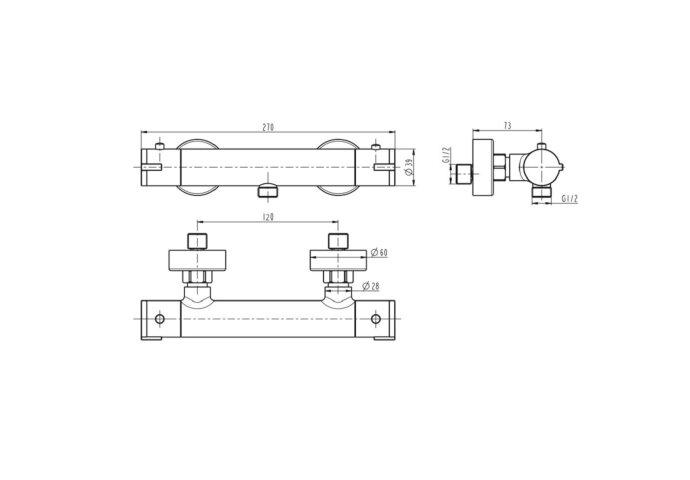 Thermostatische Douchekraan Schutte London Eco HOH 12 cm Mat Zwart