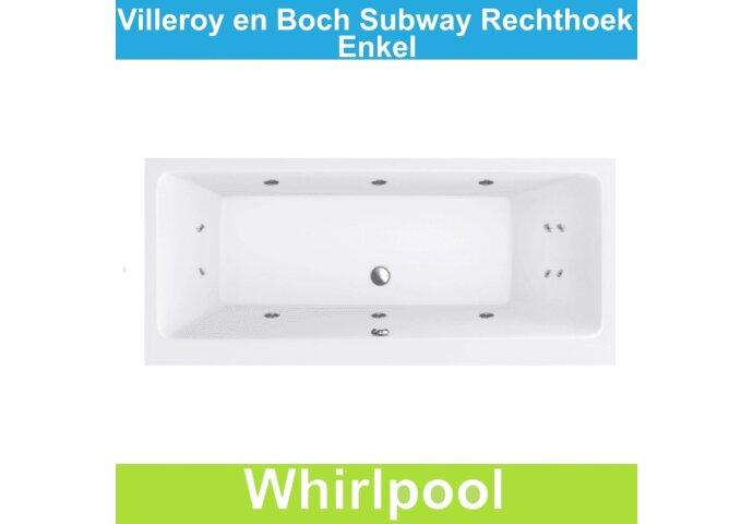 Ligbad Villeroy & Boch Subway 180x80 cm Balboa Whirlpool systeem Enkel | Tegeldepot.nl