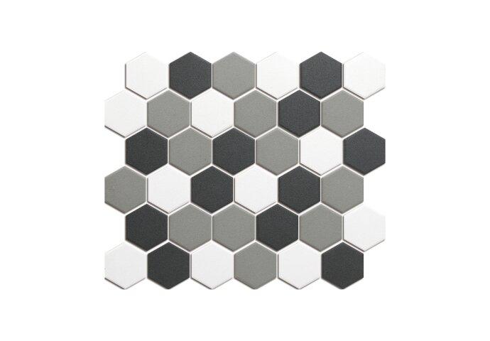 Mozaïek London 28.1x32.5 cm Onverglaasd Porselein Hexagon, Mat Antislip En Wit/Grijs Contrast Mix (Prijs Per 0.91 m2)