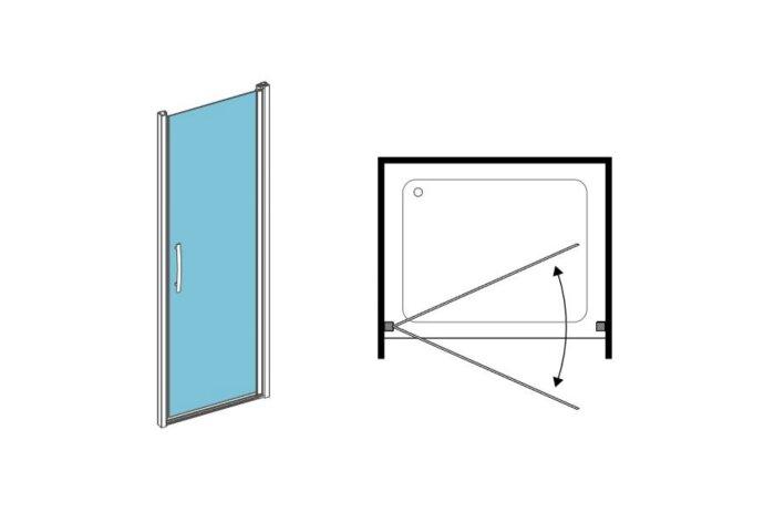 Nisdeur 1-delig Lacus Giglio 70x190 cm 6mm Nano Helder Glas Aluminium Profiel