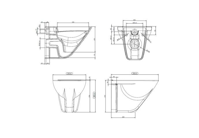 Wandclosetpot Boss & Wessing Design Randloos Diepspoel wit (Exclusief zitting)