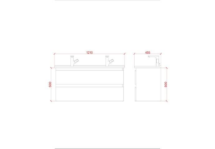 Badkamermeubelset Creavit Sally 120 cm Twee Soft-Close Lades Mat Zwart