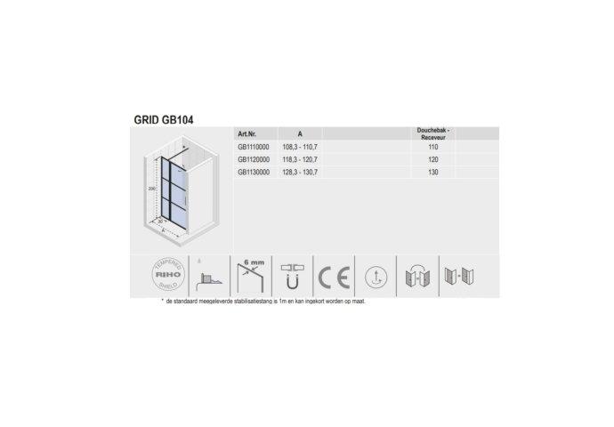 Douchedeur met Vast Paneel Riho Grid 130x200 cm 6 mm Helderglas Zwarte Profielen