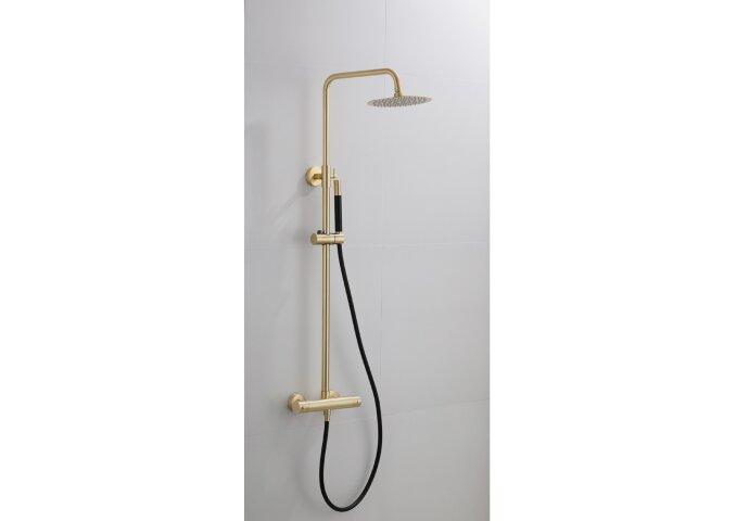 Opbouw Regendouche Set Boss & Wessing Gold Pro Thermostatisch Staaf Handdouche Mat Goud 30 cm