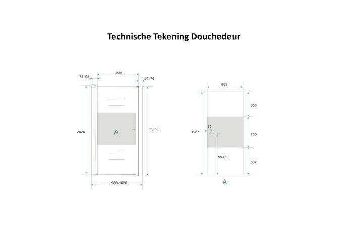 Douchecabine Boss & Wessing met Middenband op Nisdeur en Vaste Wand 100 cm Rechts Scharnierend