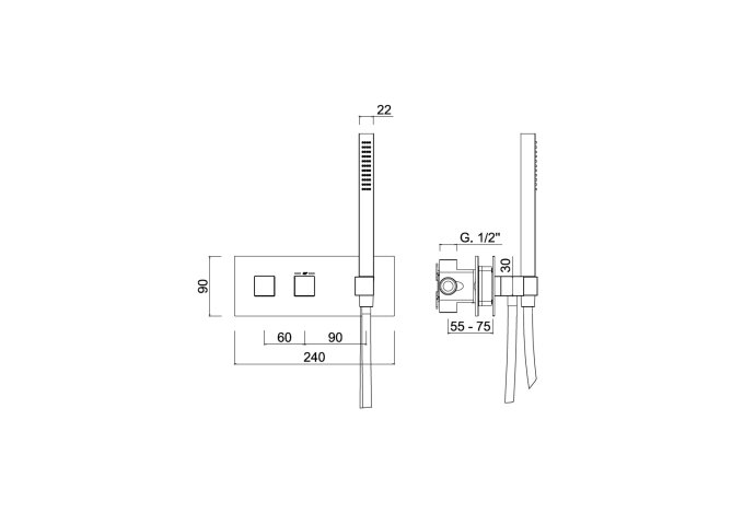 Inbouw Douchekraan Sanimex Giulini Thermostatisch 1-Uitgang Vierkant Incl. Handddouche En BOX Inbouwdeel Mat Nikkel