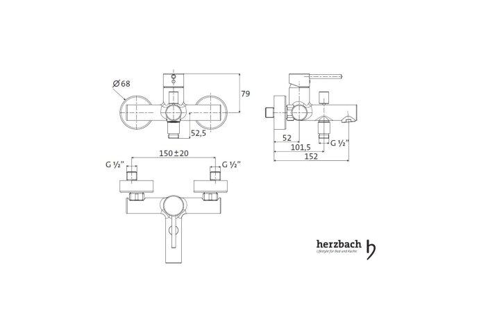 Opbouw Badmengkraan Herzbach Design New Chroom