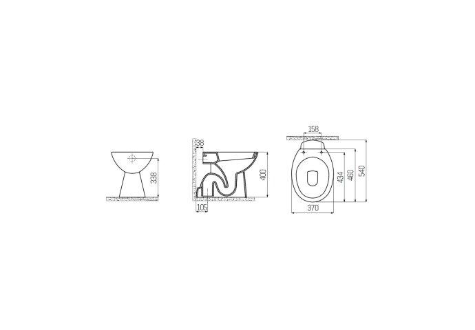 Toiletpot Staand Boss & Wessing Caro Met Bidet Onder Aansluiting Wit
