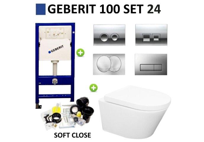 Geberit UP100 set24 Wiesbaden Vesta Rimless 52 cm met Delta drukplaat