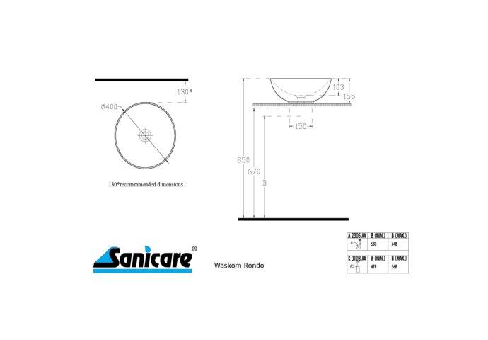 Badkamermeubelset Sanicare Q11 2 Laden 65cm Belluno-Eiken (spiegel optioneel)