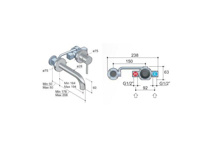 Wastafelmengkraan Hotbath Buddy Inbouw 3+3 Inbouwsysteem 1-hendel Gebogen 16.4 cm Geborsteld Nikkel