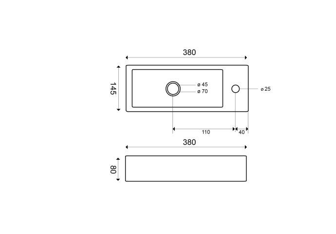 BWS Keramische Fontein Mini 38x14.5x8 cm (Kraangat Rechts)