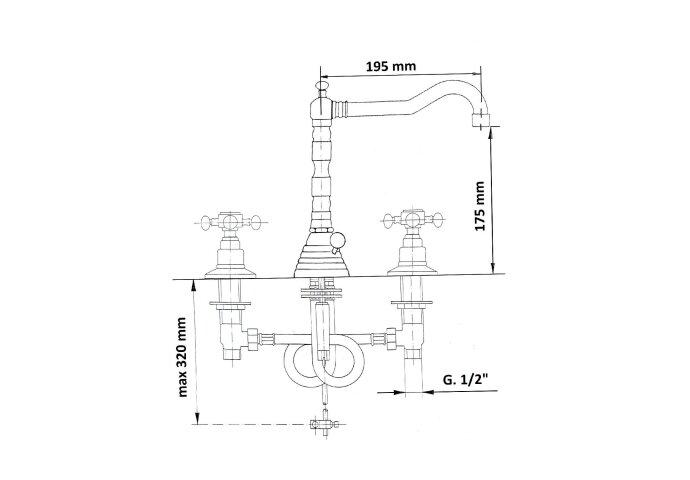 Wastafelmengkraan Retro 3-gats Sapho Antea 2-knop Uitloop Gebogen 17.5 cm Brons (incl. waste)