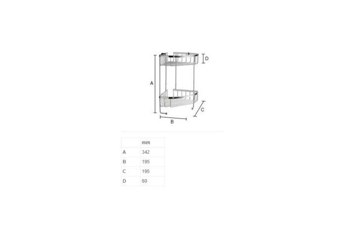 Douchekorf Smedbo Sideline Hoek Dubbel 19,5x19,5 cm Mat Chroom