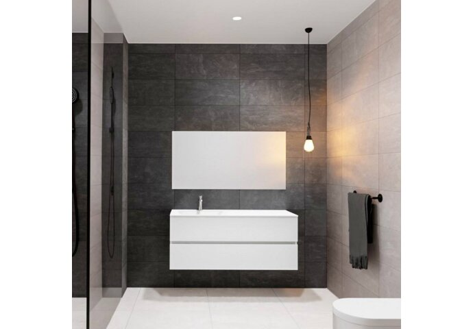 Badkamermeubel Solid Surface BWS Oslo 120x46 cm Wit (alle varianten)