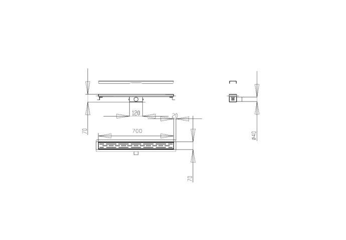 Douchegoot Best Design Black Met Flens 70x7x6.7cm Mat Zwart