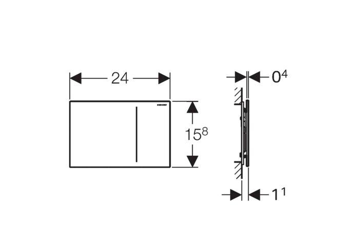 Bedieningsplaat Geberit Sigma 70 tav UP320 Glas Umbra/Aluminium