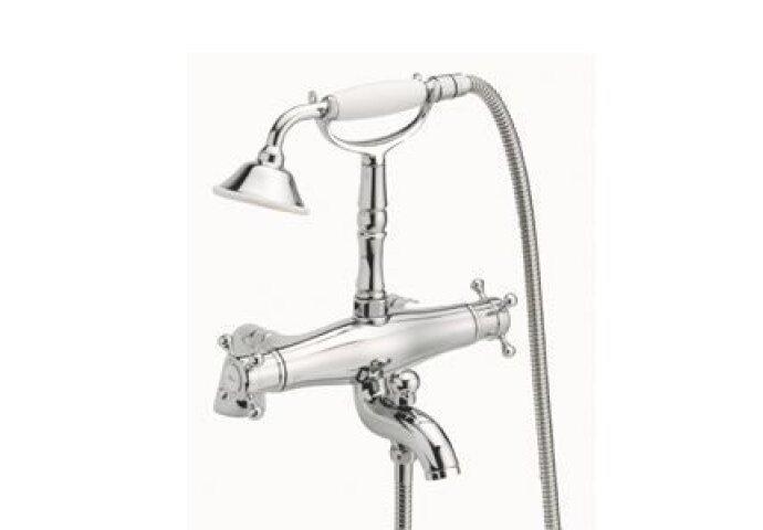 Huber Victorian Thermostatische Badkraan met Douchegarnituur voor badrandmontage RVS 197VT01HNS