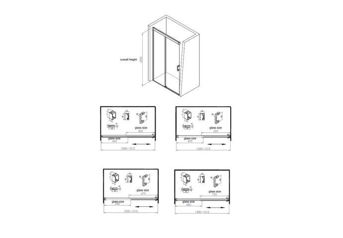 BWS Nisdeur Linea met Vast Paneel 130x200 cm 8 mm Soft Close NANO Glas Zwart