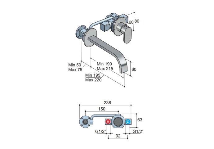 Wastafelmengkraan Hotbath Friendo 3+3 Inbouwsysteem 1-hendel Cascade Uitloop 19 cm Geborsteld Nikkel