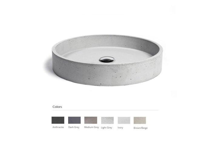 Opzet Wastafel Urbi et Orbi Circum Beton 48x10 cm Medium Grijs