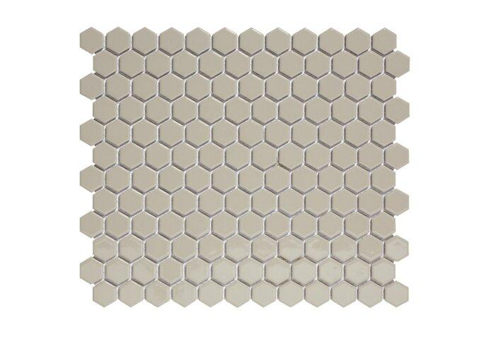 Mozaïektegel The Mosaic Factory Barcelona Hexagon 23x26 mm Porselein Grijs