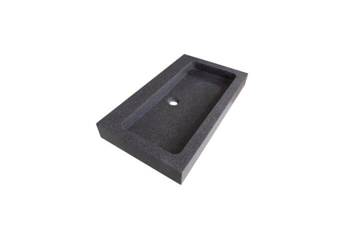 Wastafelblad Natuursteen Grey Stone 0 kraangaten 80 cm