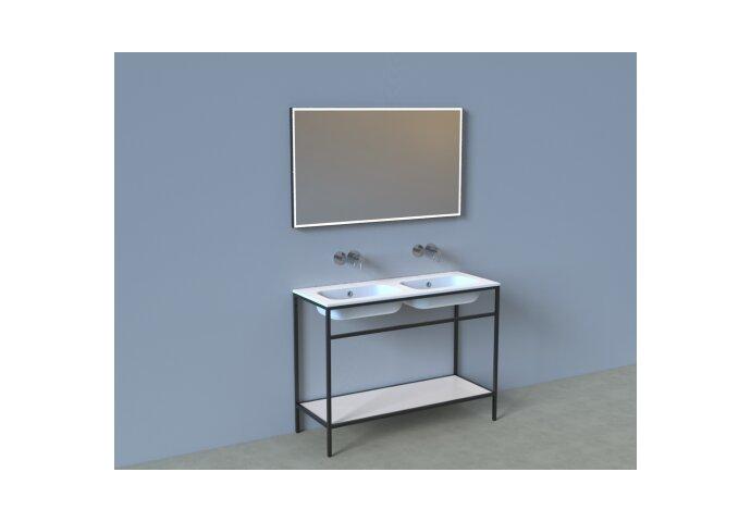 Badkamermeubelset Industrieel BWS Frame Staand 120 Mat Zwart Aluminium (zonder kraangaten)