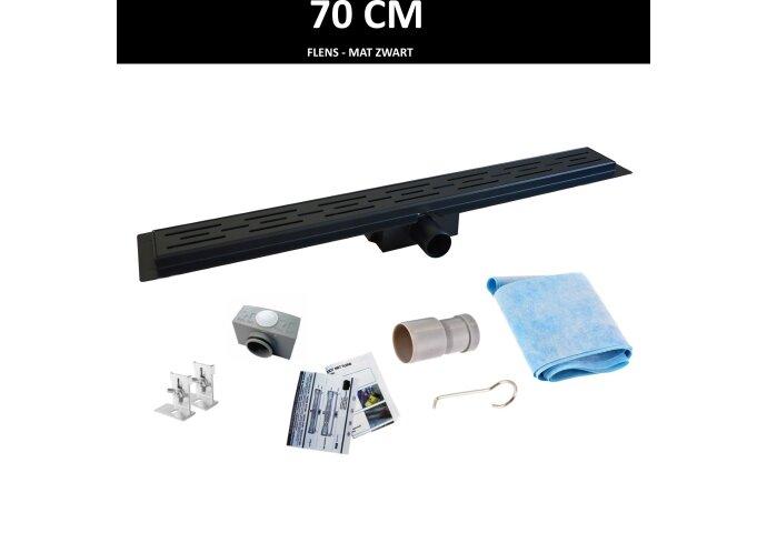 Mat Zwarte RVS Douchegoot Flens met Uitneembaar Sifon 70x7cm 6,7cm Diep MAT ZWART ROOSTER