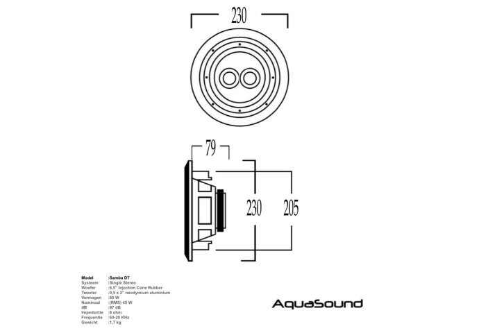 Speaker Aquasound Samba-DT (single stereo) Vochtbestendig Mat Chroom Rond Ø 23 cm