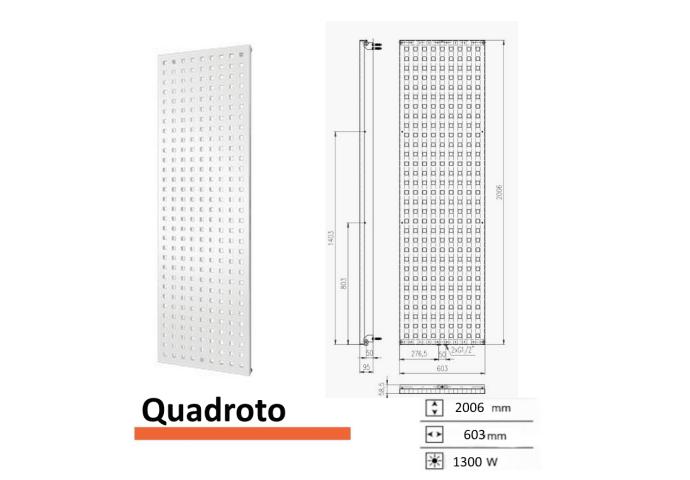 Designradiator Quadroto 2006 x 603 mm Zwart