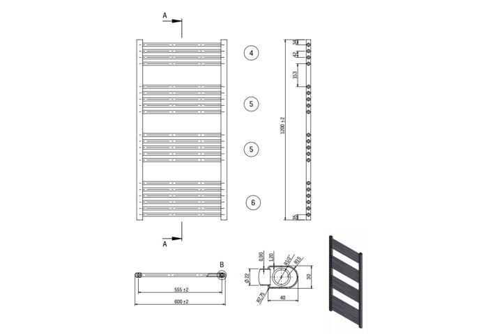 Designradiator Nile Gobi 120x60cm Wit Zij Aansluiting (Links Rechts Aansluiting)