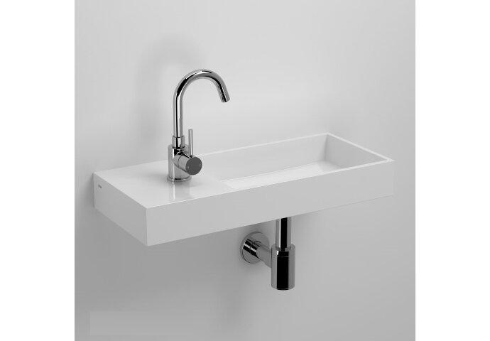 Fontein Clou Mini Wash Me Plus 56x24x7.5cm Mineraal Marmer Glans Wit (Met Voorbewerkt Kraangat Links)
