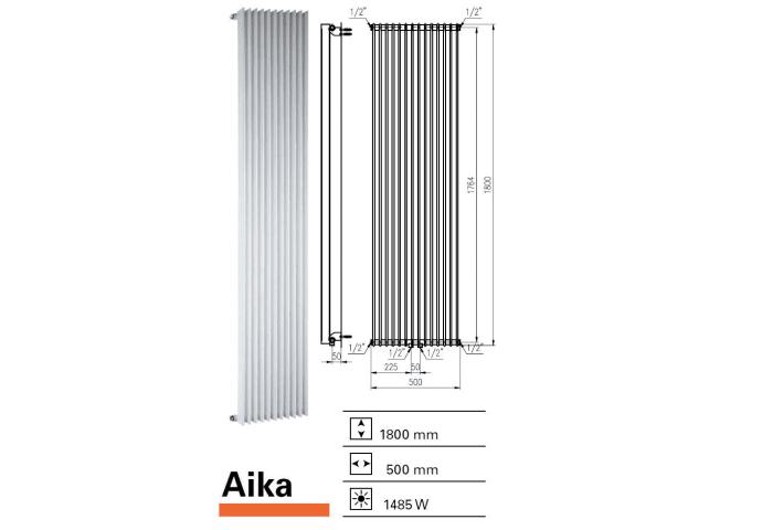Designradiator Aika 1800 x 500 mm Pergamon