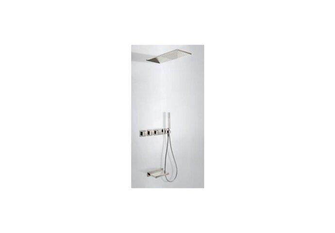 Tres Cuadro inbouw badthermostaat combinatie met handdouche en waterval baduitloop staal 20735305AC