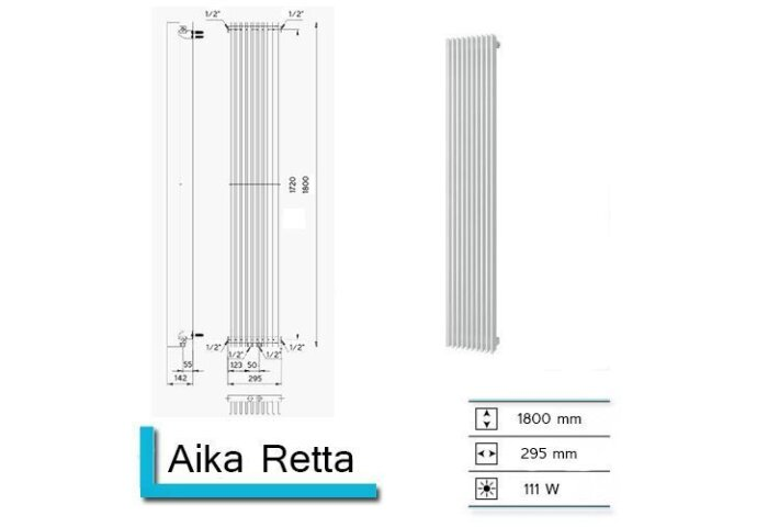 Handdoekradiator Aika Retta 1800 x 295 mm Mat Wit