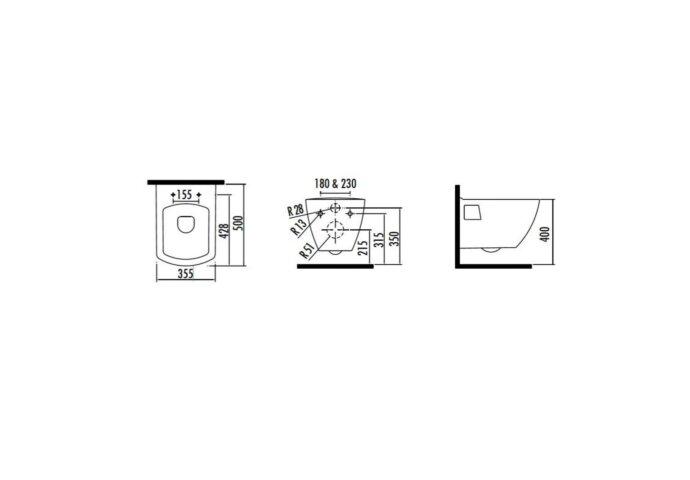 Wandcloset Creavit Design Square met Bidet Keramiek Wit (Excl. Zitting)