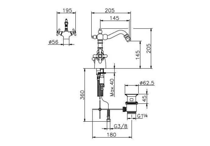 Huber Croisette Bidetkraan thermostatisch Chroom 186.01H.CR